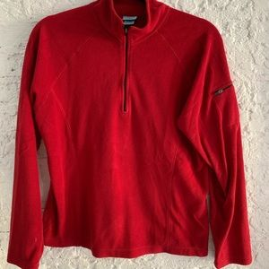 LL Bean red 1/2 zip fleece top Size M
